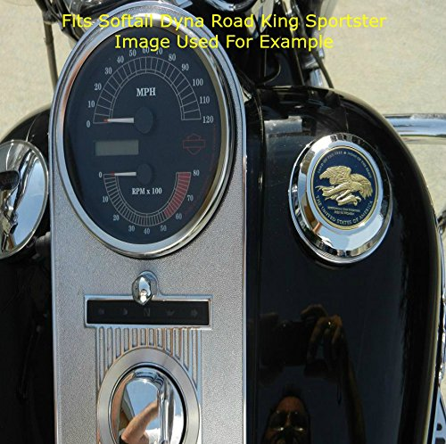 MotorDog69 Harley Gas Cap Coin Mount Set with Police for Softail Dyna Road King Sportster/…/…