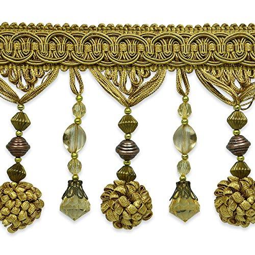 (Expo International 20 Yards of Preshea Decorative Beaded Fringe Trim Gold)