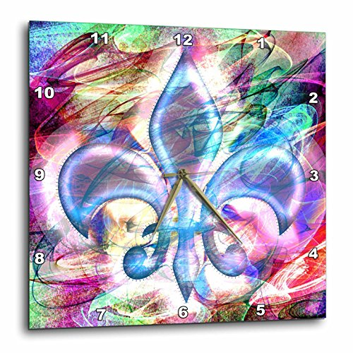 3dRose Fleur De Lis Abstract Art - Wall Clock