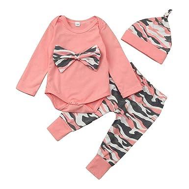 e15c05f9e78d9 Amazon.com: Newborn Baby Girls Fall Clothes Long Sleeve Camo Bowknot Romper  Bodysuit+Pants+Hats Outfit Set: Clothing
