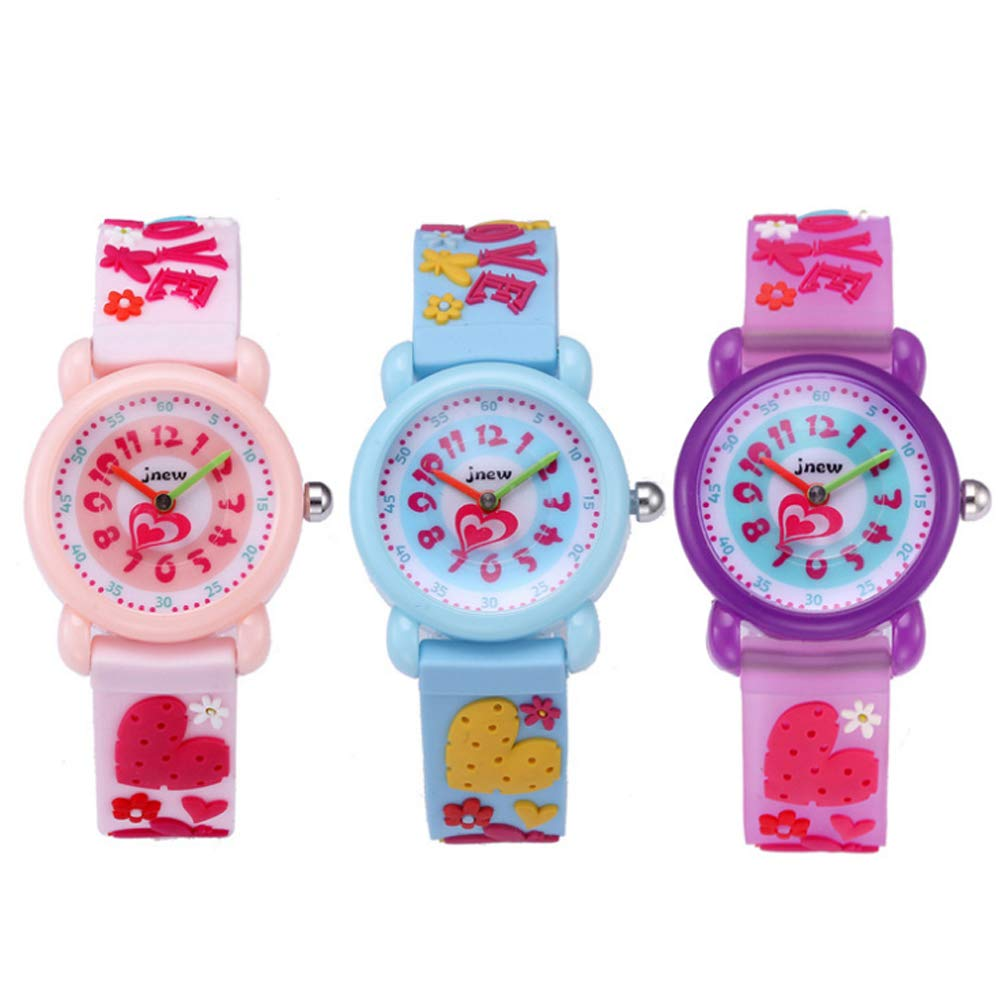 CdyBox Silicone Watch 3D Cartoon Design Children Girls Kids Digital Sport Watches Dial Colorful Watchband (3 Pack) by CdyBox