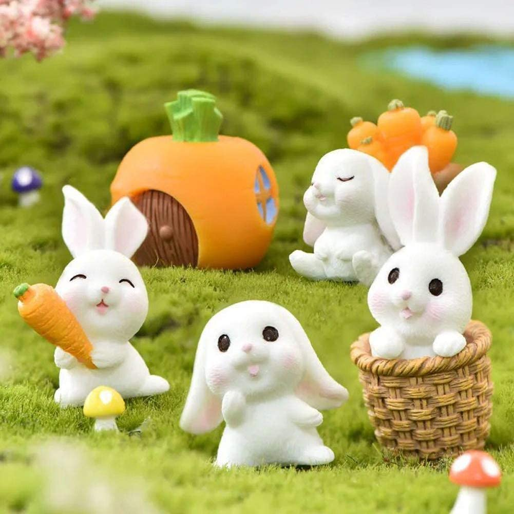 7 Pieces Miniature Fairy Garden Ornaments Kit, Cute Rabbits and Carrot House, Fairy Garden Mini Animals Rabbit for Plant Pot, Home Decoration (7 Pcs Rabbits and Carrot House Set)