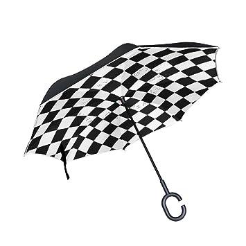 BENNIGIRY Paraguas invertido de doble capa con cuadrados de cuadros blancos y negros a cuadros,