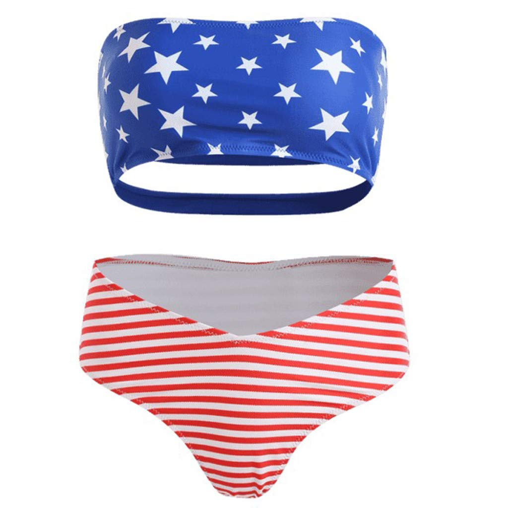 e83e030af3763 Women's American Flag Two Piece Swimsuit Strapless Bandeau Tube Top with  High Waist Tummy Control Swim Bottom Bikini Set USA Flag Bathing Suits  Swimwear ...