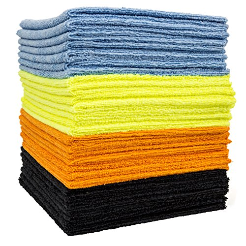 Dry Rite's Best Edgeless Wonder Microfiber Cloth - Multi-Pack of Mixed Color Cleaning Towels for Fine Auto Finishes, Interior, Chrome, Kitchen, Bath, TV, Glass- Non Scratching, Streak Free- 16 x 16