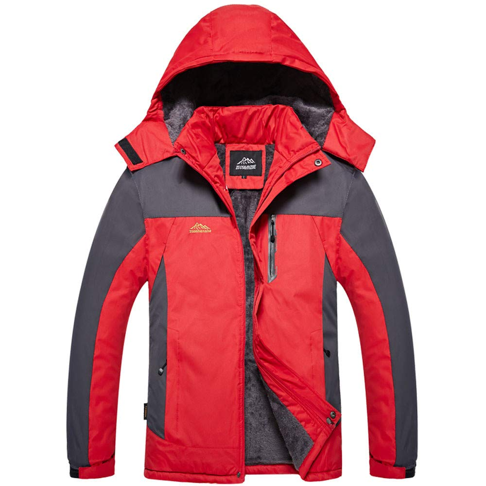 Hevoiok Casual Fashion Winter Windproof Waterproof Warm Thicken Velvet Hooded Coats Camping Hiking Skiing Mountaineering Camping & Hiking Clothing Mens Outdoor Sports Jacket