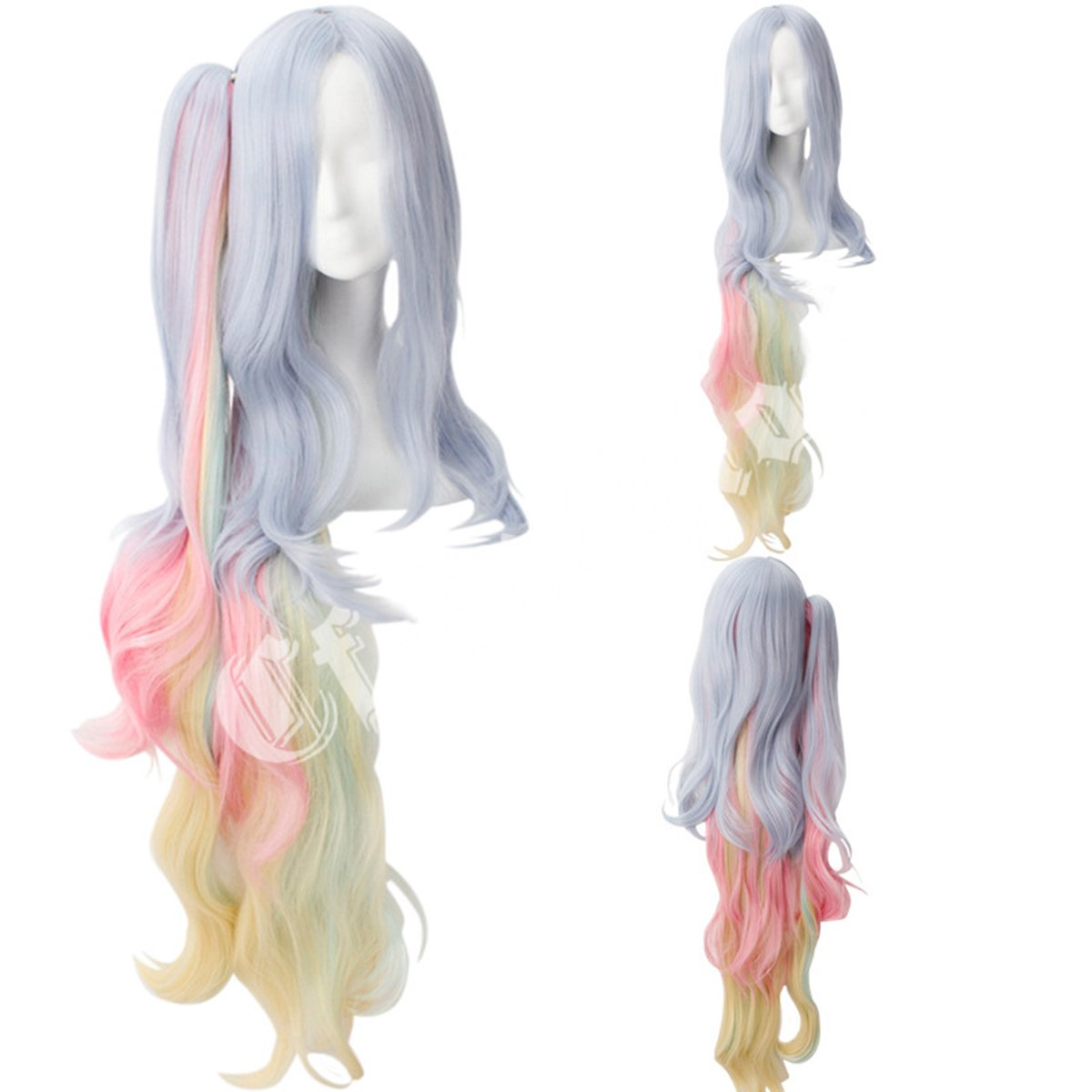 Cfalaicos No Game No Life Rainbow Color Long Wave Cosplay Hair Wig by Cfalaicos