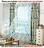 ASide BSide Fashionable Style Sheer Curtains Rod Pockets Triangles Printed Home Treatment Voile Draperies For Child Room Houseroom and Kitchen (1 Panel, W 52 x L 63 inch, Green)
