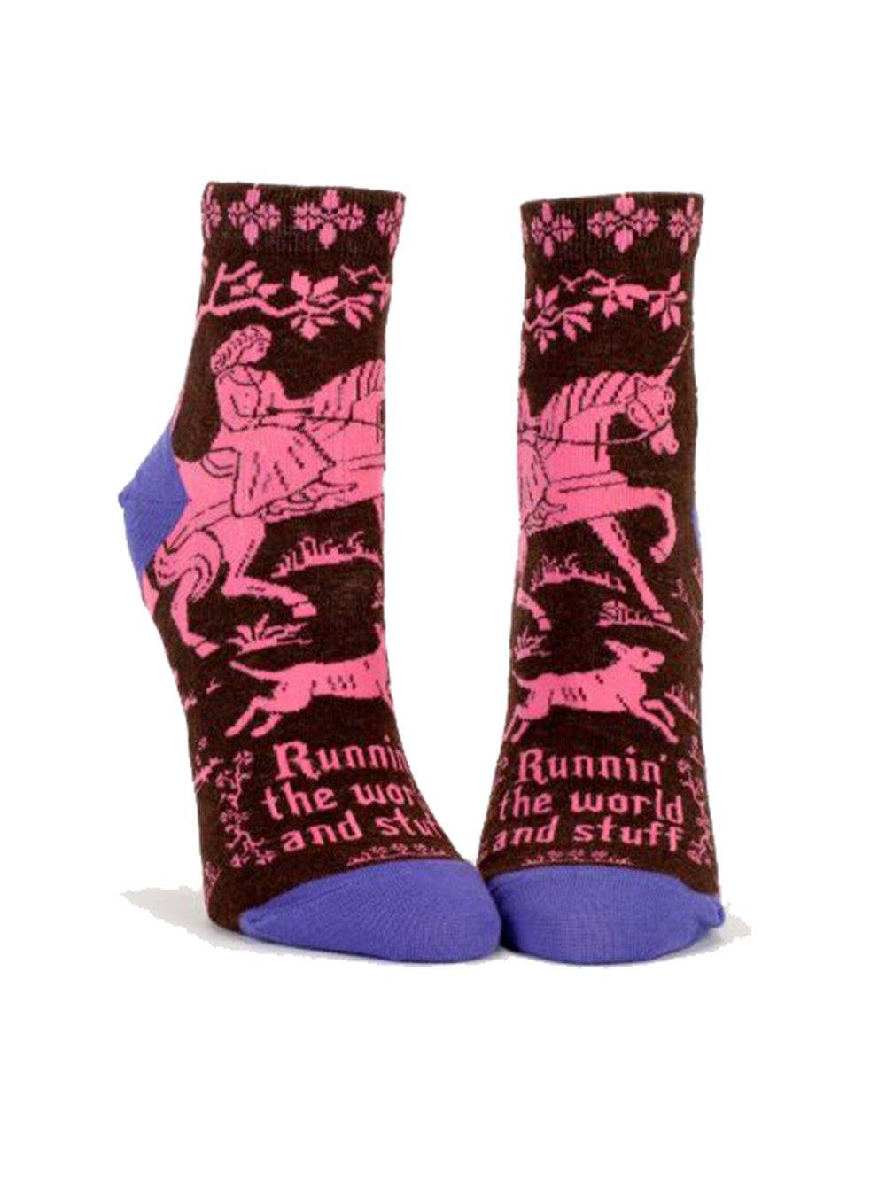 Blue Q Mens Runnin The World Ankle Socks by Blue Q
