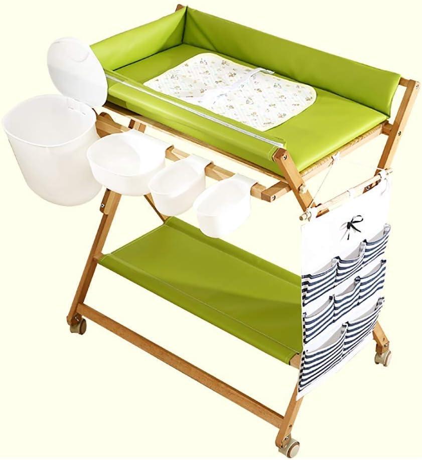 赤ちゃんおむつ交換台ヘビーデューティ木製、折りたたみ幼児おむつステーションホイール収納付きオーガナイザー