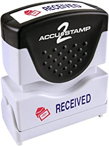 """ACCU-STAMP2 Message Stamp with Shutter, 2-Color, RECEIVED, 1-5/8"""" x 1/2"""" Impression, Pre-Ink, Blue and Red Ink (035537)"""