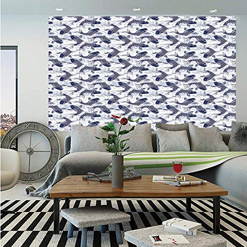 SoSung Fish Huge Photo Wall Mural,Japanese Carp Koi with Wave Patterned Background Ancestral Animals Asian Culture,Self-Adhesive Large Wallpaper for Home Decor 100x144 inches,Dark Blue White