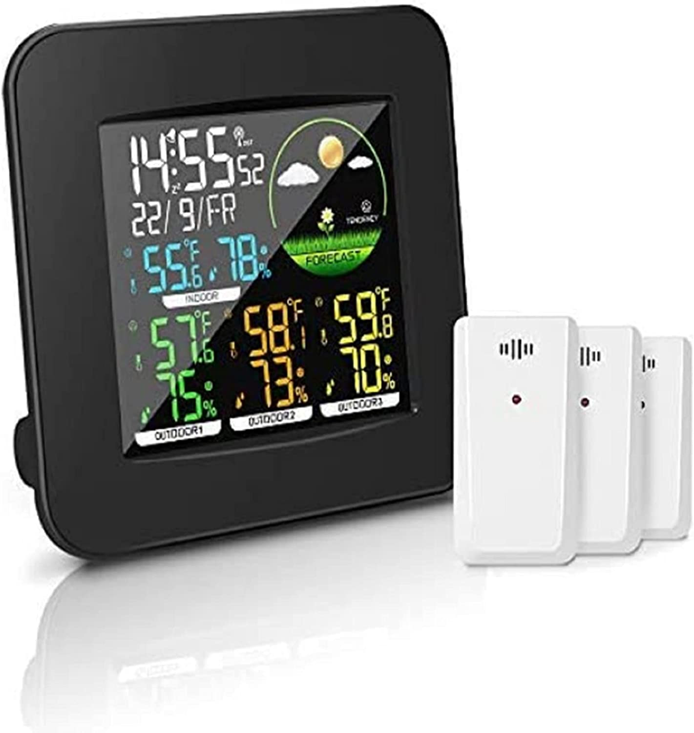 Geevon Weather Station Wireless Indoor Outdoor Thermometer Multiple Sensors, Digital Temperature Humidity Monitor, Color LCD Display, Atomic / Alarm Clock, 3-Level Backlight