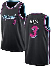 SEYE1° Miami Heat # 3, Wade 2019 NBA Jersey, Camisetas De Baloncesto para