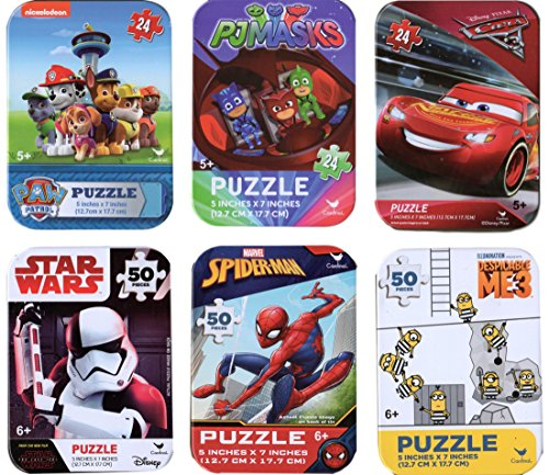 (6 Collectible Boy Puzzle Tins Marvel Spiderman Cardinal 24 50 Pieces Ages 5+ 6+ Cars Lightning McQueen, Paw Patrol, PJ Masks, Minions, Star Wars Storm Trooper, Spiderman Bundle Gift Set)