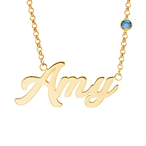 10b2c4329 LAOFU Personalized Name Necklace with Birthstone Custom Made Necklace with Name  Pendant 14k Gold Gifts for