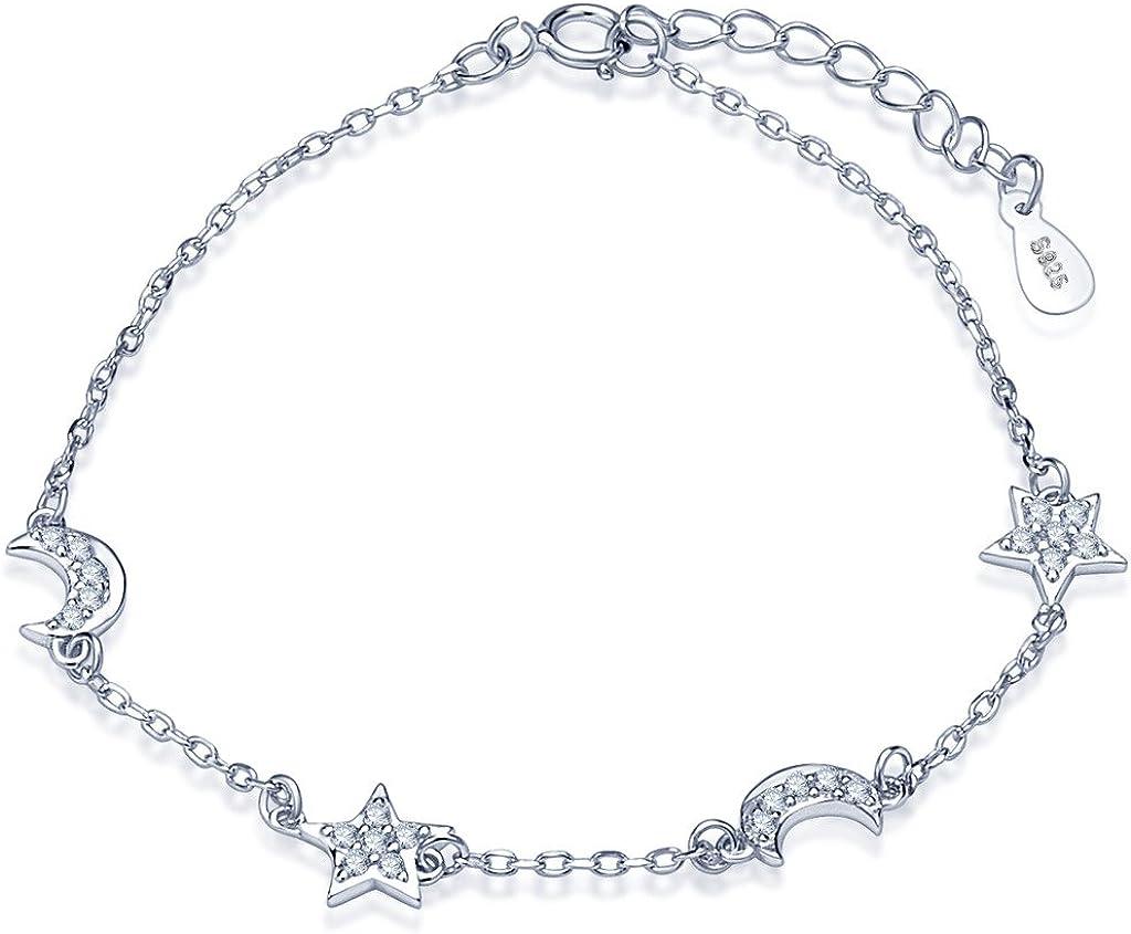Pulsera de abalorios de plata de ley 925, con circonitas cúbicas, diseño de estrellas y lunas, elegante, cadena de mano ajustable, para mujer, de la marca Infinite U