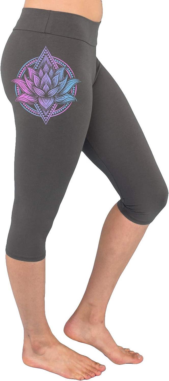 Geometric Flower Crop Exercise Lounge Pants New Age Spiritual Clothing Watercolor Purple Lotus High-Waist Yoga Capri Leggings