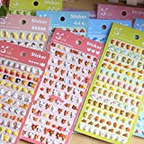 6 Sheets DIY Cute Cartoon Kawaii Cool Art Assortment Animals Zoo 3D Puffy Decorative Diary Album Calendar Adhesive Stickers Scrapbooking Craft For Kids School Boys Girls Journal