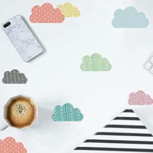 DIY Cartoon Cloud Decor Wall Stickers Nordic Style Multicolor Children's Room Bedroom Kindergarten Background Layout Home Decoration Stickers A5(5.8x8.2inch)x 12sheets (Cloud 105)