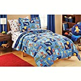 Mainstays Kids 5-Piece Boy Blue Space Bed in a Bag Coordinating Bedding Set, Twin