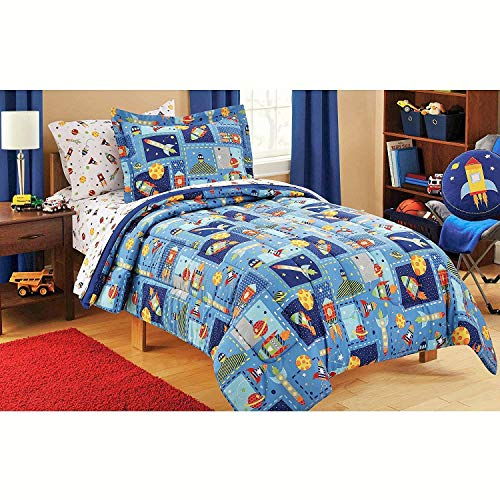 (Mainstays Kids 5-Piece Boy Blue Space Bed in a Bag Coordinating Bedding Set, Twin)