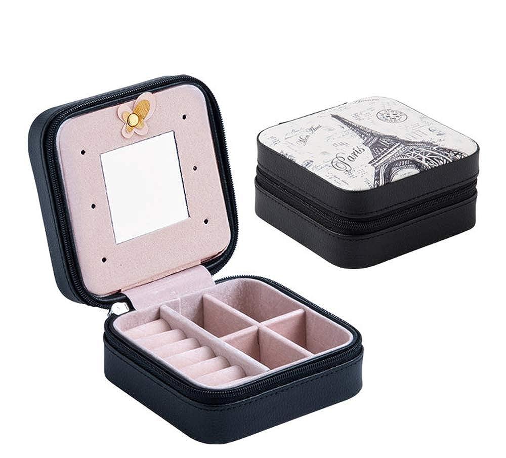 LKY portagioie Gioielli di Viaggio Organizer Portable Travel Jewelry Box PU Anello Supporto portagioie da Viaggio con Cerniera