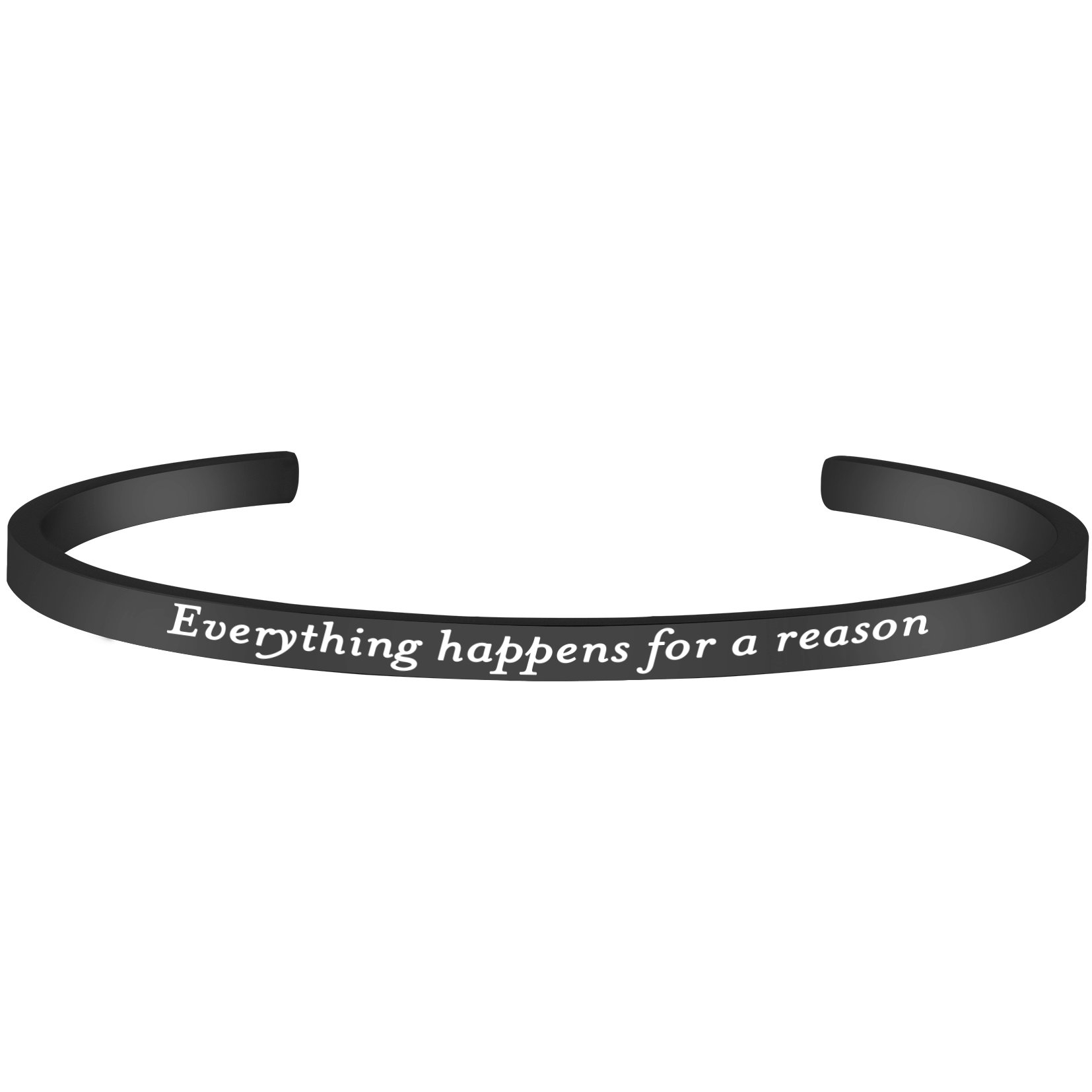 Lademayh Everything Happens for a Reason Engraved Inspirational Words Bracelet Bangle, Black Adjustable Customized Stainless Steel Mantra Cuff Band