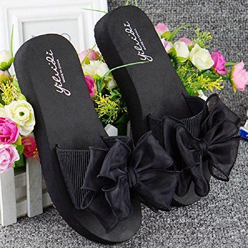 Bettyhome Kvinner Dame Jenter Sexy Sateng Bowknot Thongs Komfortabel Uformelle Wedges Sandaler Stranden Flip Flops Tøfler Svart