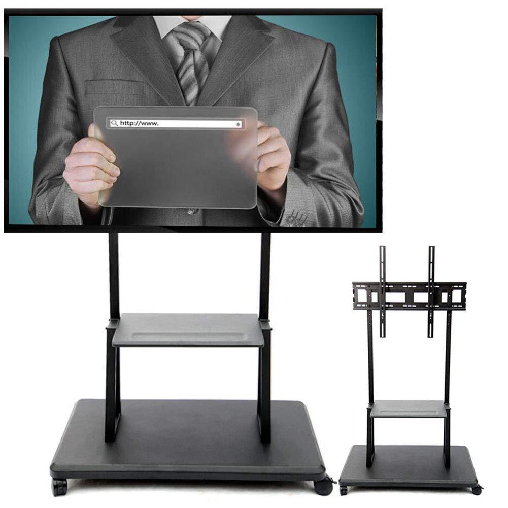 ローリングテレビスタンドモバイルテレビカート用、55-84インチLED LCDプラズマフラットパネルの回転高さ360º調整カンファレンスオフィスレセプションホール展示会 B07QXWCXNM