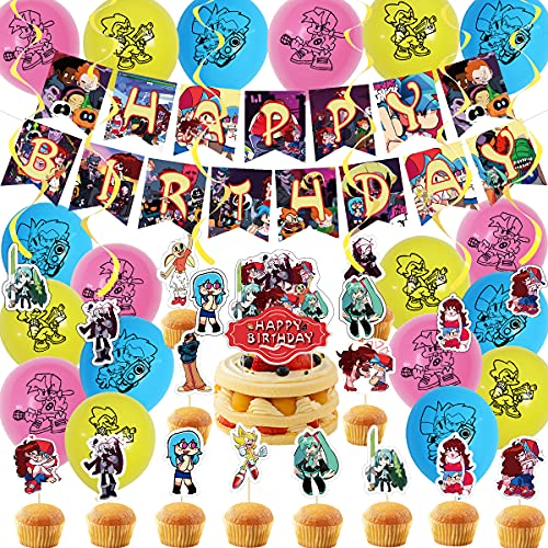 Birthday Party Decorations for Friday Night Funkin, FNF Themed Party Set with Happy Birthday Banner, Cake Topper, Cupcake Toppers and Balloon