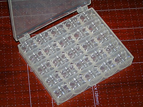 Ceeyali 25 Pcs Transparent Plastic Sewing machine Bobbins by using Bobbin scenario for Brother Singer Babylock Janome Kenmore Bobbins