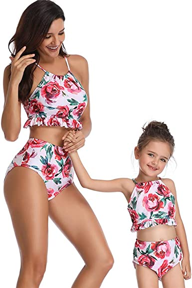 Mommy and Me Bikini Sets Family Matching Blue Halter Top Pineapple Print Bottom Swimsuit Flounce Bathing Suit