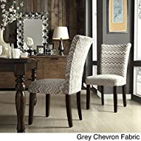 Catherine Print Parsons Dining Side Chair Grey Chevron Fabric (Set of 2)