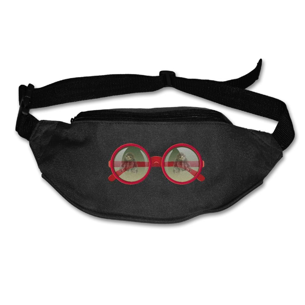 Gkf Waist Fanny Pack Sloth In Glasses Running Sport Bag For Outdoors Workout Cycling