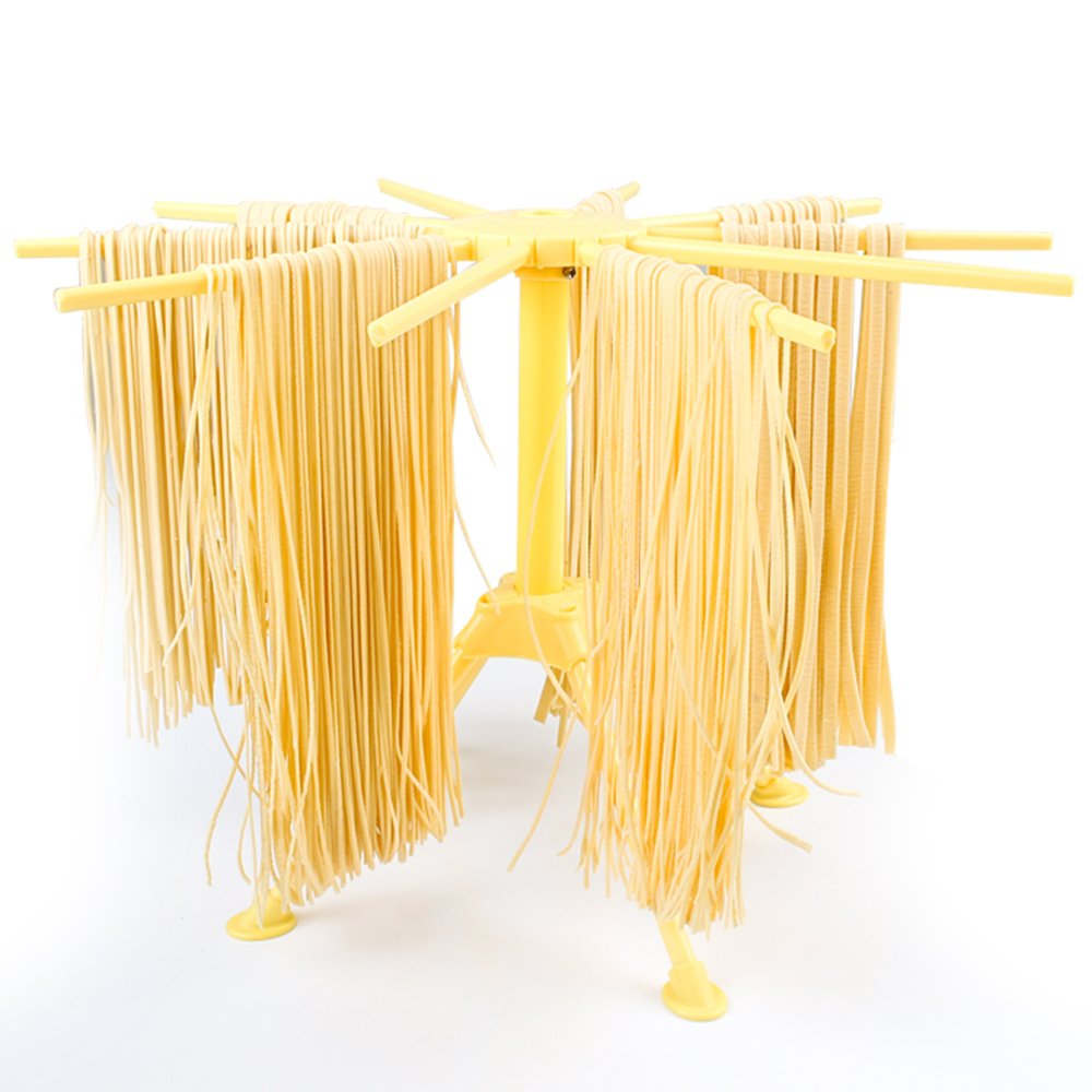 Scratch Pasta Drying Rack with 10 bar handles Collapsible Household Noodle Dryer Rack Hanging Yellow