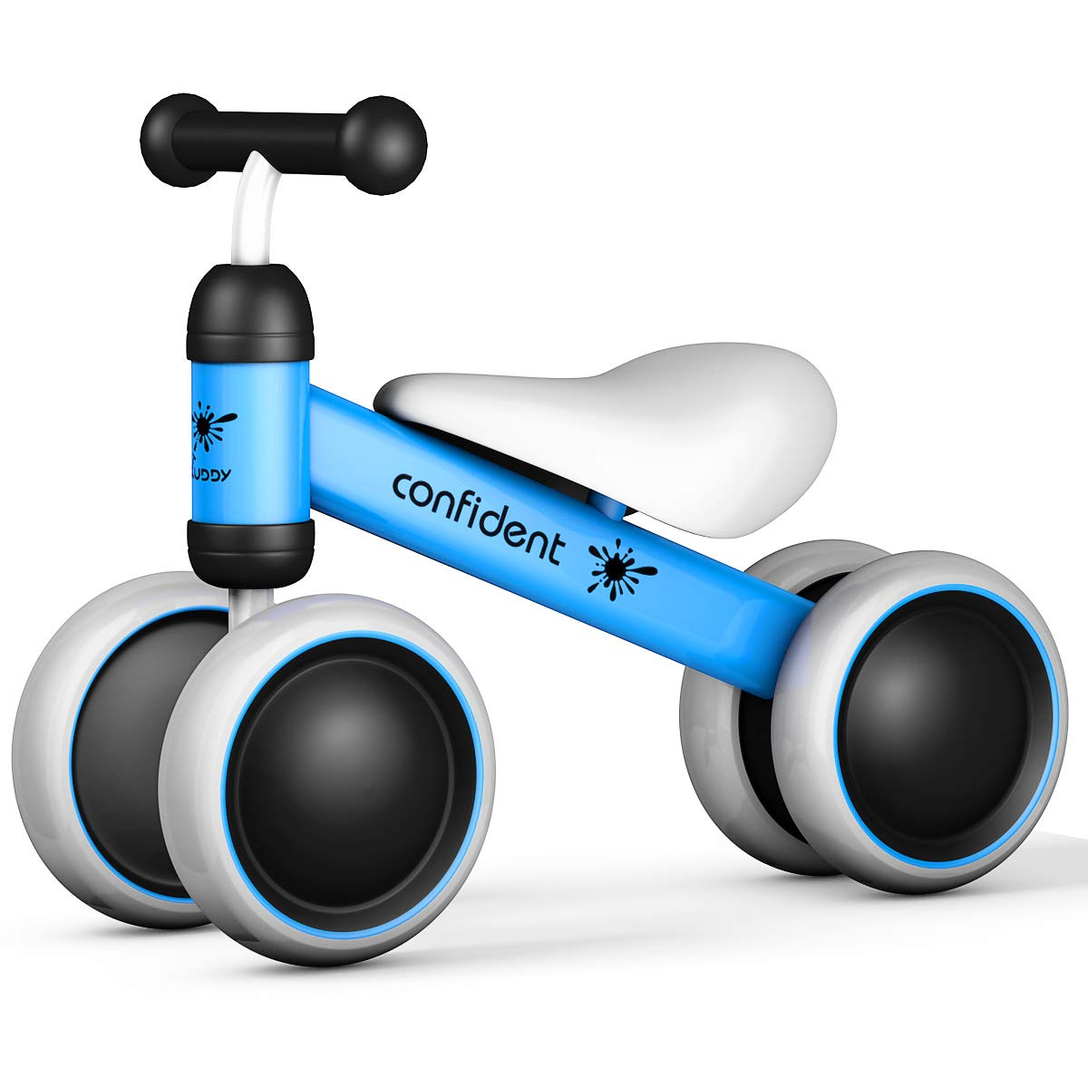 Costzon Baby Balance Bikes, Mini Bike Bicycle, Children Walker Toys Rides for 18-36 Months No Pedal Infant 4 Wheels Toddler Bike (Blue)