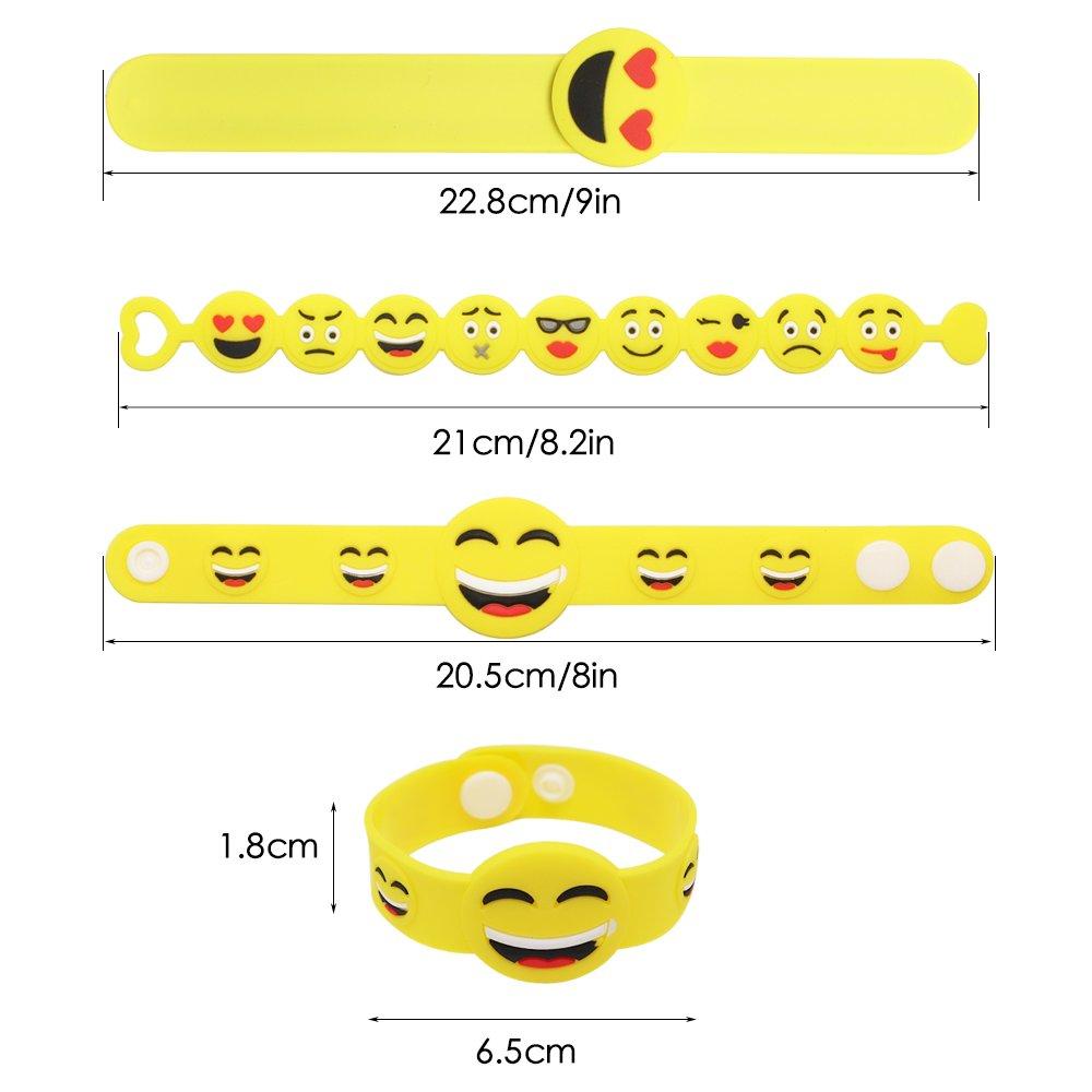 Unicorn Emoji Slap Favors Set Key Chains Bracelets Wristband DavonArt Birthday Party Supplies For Kids