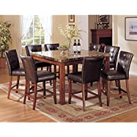 GTU Furniture 9pc Dark Brown Counter Height Dining Room / Kitchen Table & Stools Set