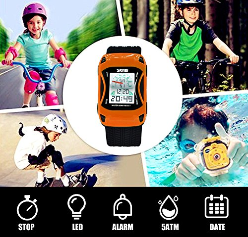 Kids Watches LED Waterproof 3D Car Silicone Children Toddler Wrist Watches Time Teacher Gift for Boys Girls Little Child Orange by Etway (Image #2)