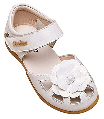Amazon dsr girls summer flower closed toe leather sandals amazon dsr girls summer flower closed toe leather sandals comfy dress sandals 105 m white sandals mightylinksfo