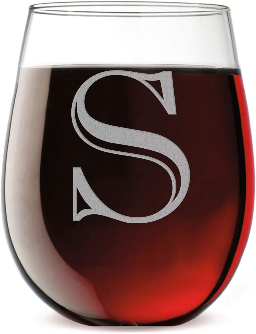 Monogram Etched 17oz Stemless Wine Glass (Letter S)