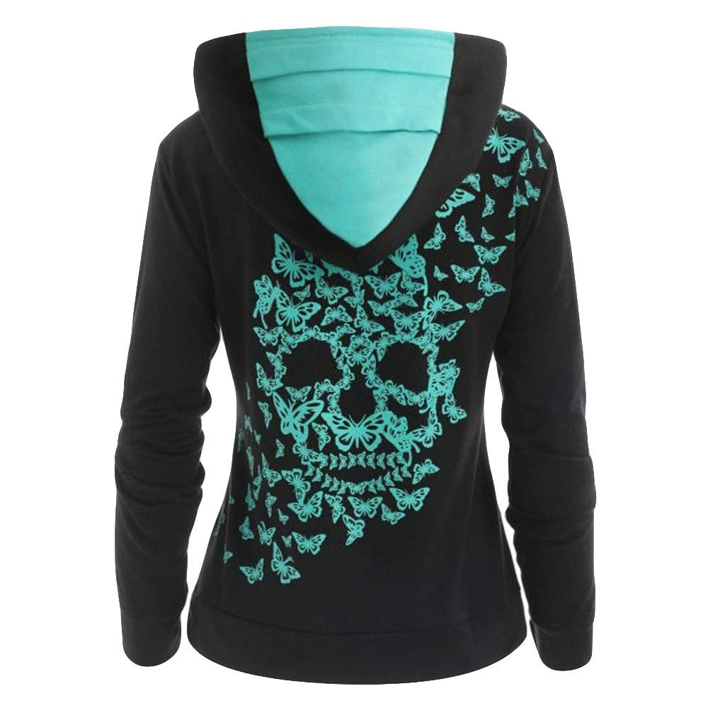 Staron Butterfly Skull Print S Tops Casual Hooded 3466 Shirts