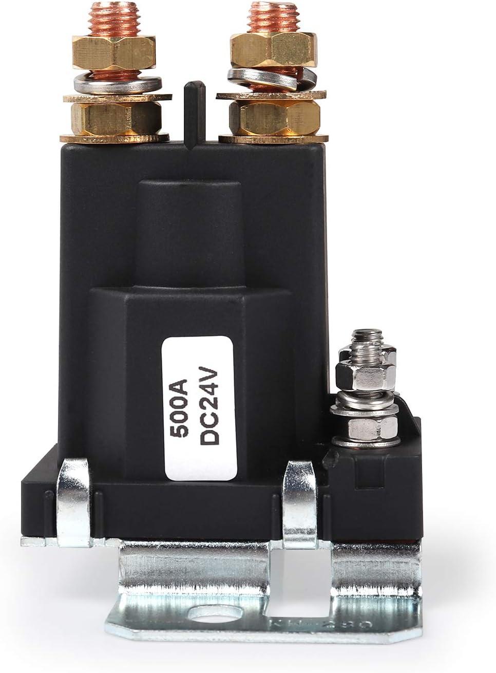 Ehdis® Relé de arranque de alta intensidad 500 AMP DC 24V 4 Pin SPST Contacto automático de arranque del coche Doble pilas Interruptor de encendido / apagado del interruptor del aislador