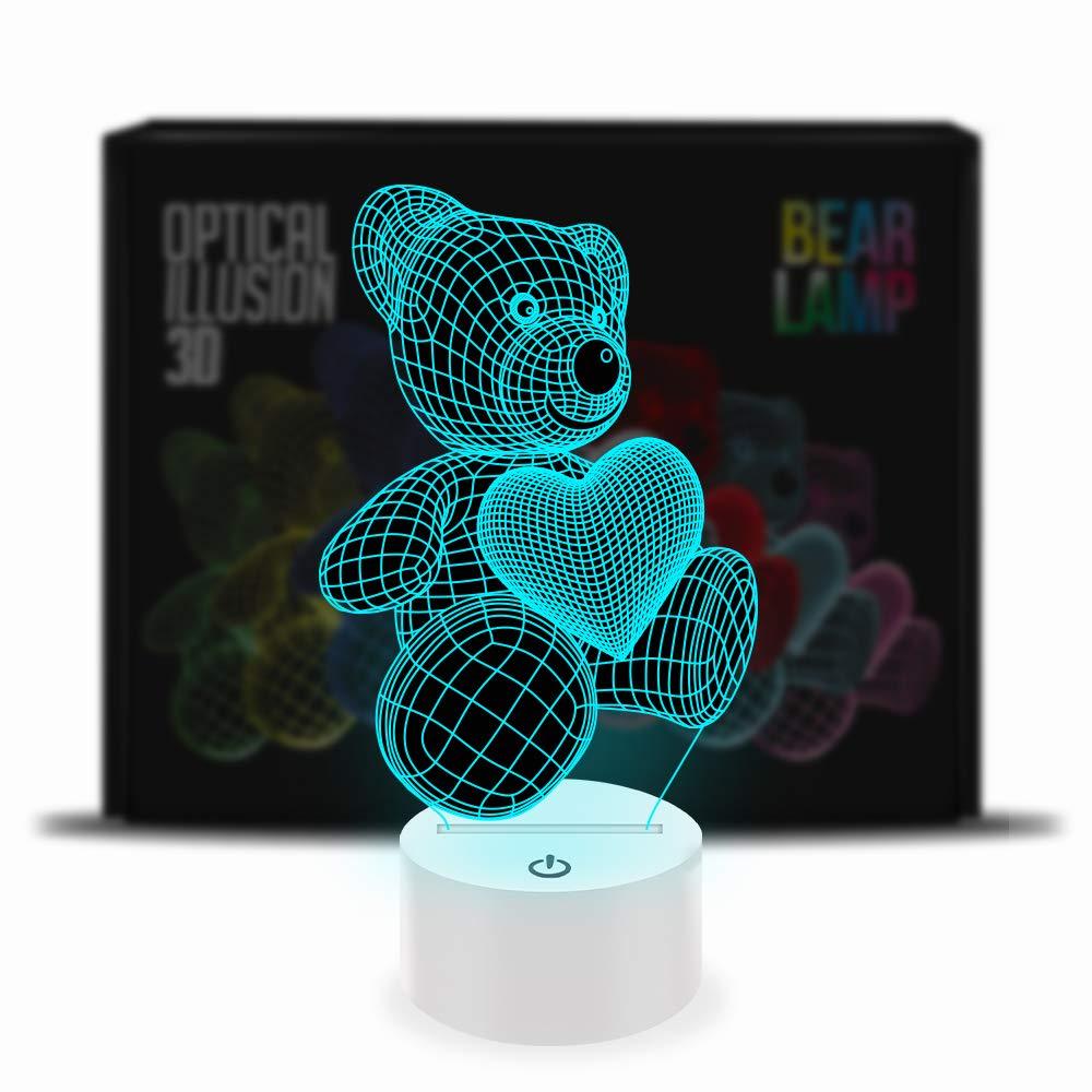 ADDCORE Ilusión óptica 3D lámpara 7 Colores cambiantes Oso de Peluche AddCore Ltd