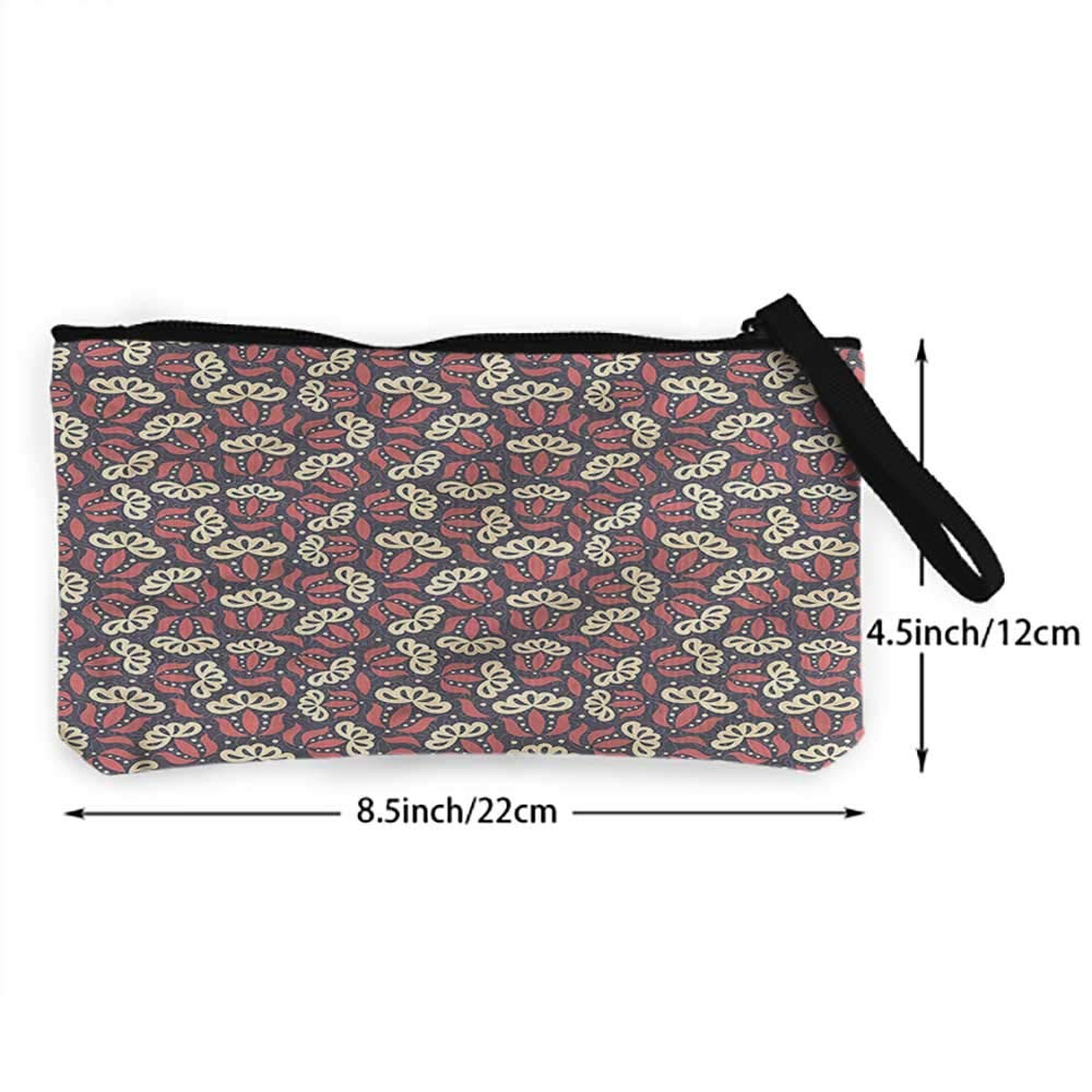 Lilies Pattern Canvas Coin Purse Small Cute Wallet Bag With Zip