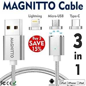 USB Type C Cable,Magnetic Charger Cable MAGNITTO USB to Lightning+USB C+Micro 3 in 1 Multiple 2.4A Quick USB Charging Cable