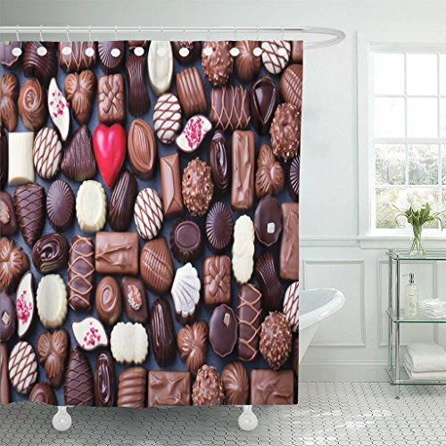 VaryHome Shower Curtain Brown Belgian Assortment of Fine Chocolate Candies White Dark and Milk Sweets Copy Space Top View Red Waterproof Polyester Fabric 72 x 72 inches Set with Hooks (Belgian Chocolates Red)