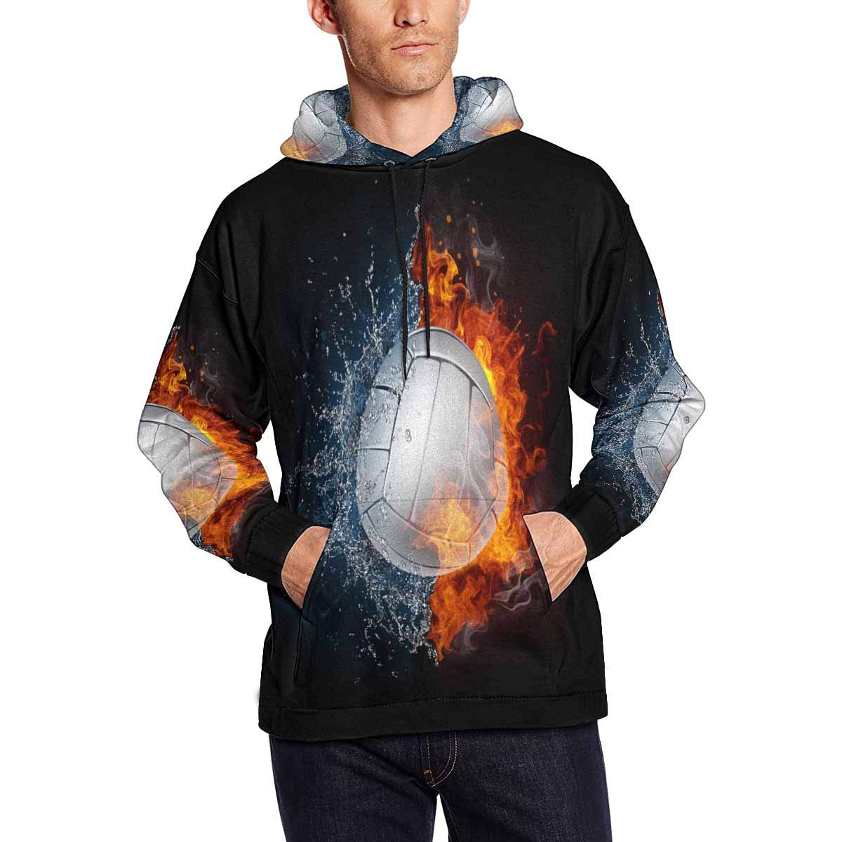 INTERESTPRINT Volleyball in Fire and Water Funny Sports Long-Sleeve All Over Print Mens Hoodie