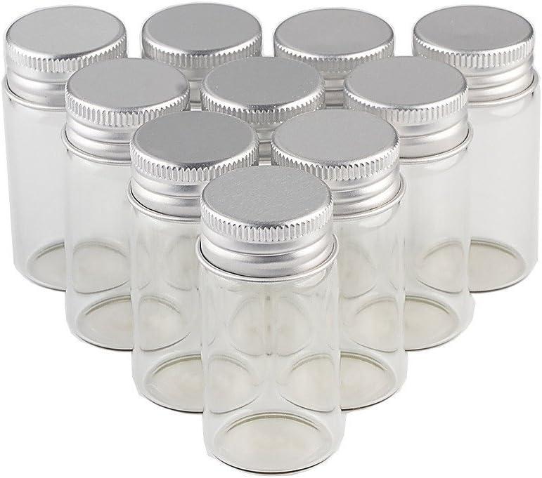 25ml Empty Seal Jars Glass Bottle with Aluminium Metal Silver Color Screw Cap Sealed Liquid Food Gift Container 12units (12, 25ML-LU-Cap)